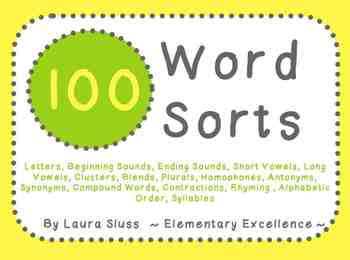 Word Sorts MEGA Pack!! 100 Sorts (beginning sounds, vowels, blends, etc)