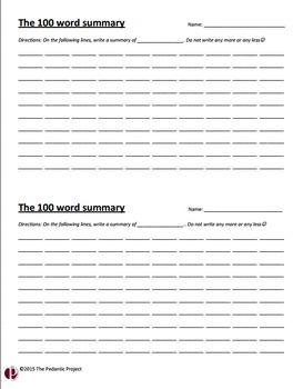 100 Word Summary Template