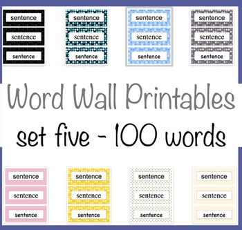 100 Word Wall Words 8 Polka Dot backgrounds Fifth 100 Fry Words