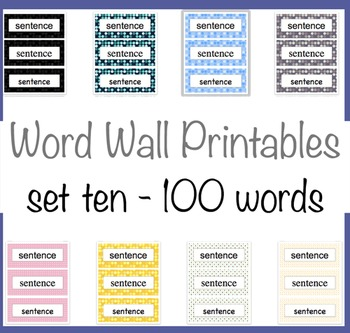 100 Word Wall Words 8 Polka Dot backgrounds Tenth 100 Fry Words