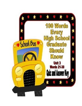 100 Words Every High School Graduate Should Know #3 (Vocabulary 21-30)