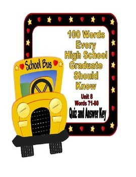 100 Words Every High School Graduate Should Know #8 (Vocabulary 71-80)