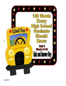100 Words Every High School Graduate Should Know #9 (Vocabulary 81-90)
