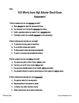 100 Words Every High Schooler Should Know Assessment