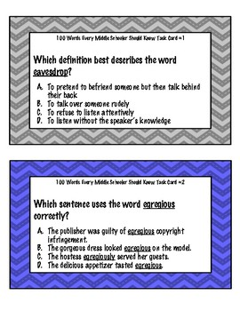 100 Words Every Middle Schooler Should Know Task Cards - Volume 2