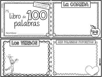 100th Day 100 Words Spanish Mini Book