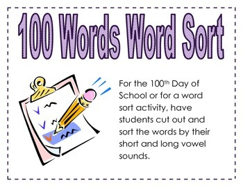 100 Words Word Sort - Short and Long Vowels