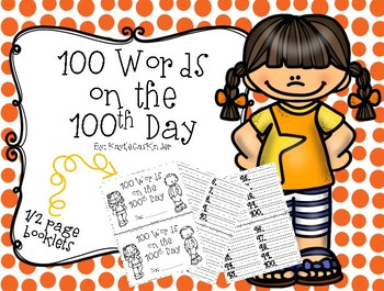 100 Words on the 100th Day: A Write the Room Activity