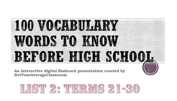 100 Words to Know Before High School List 3: words 21-30 EDITABLE