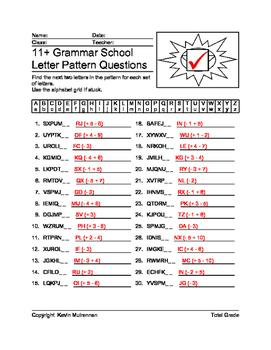 100 Worksheets English Letter Patterns Math Logic