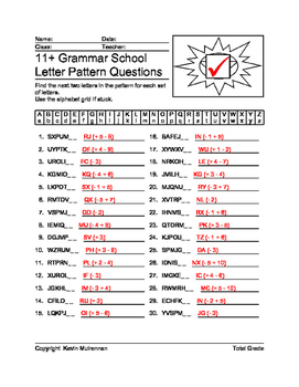 100 Worksheets English Letter Patterns Math Logic