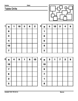 100 Worksheets Math Table Drills Times Tables