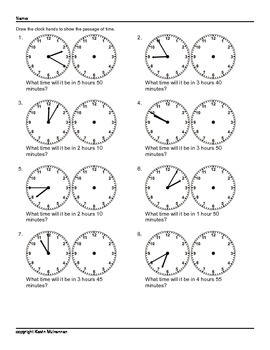 100 Worksheets Math Time Passages Clocks