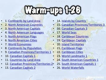 100+ World Geography Warm-ups