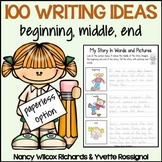 100 Writing Prompts for the Whole Year with a Paperless Option and Task Cards