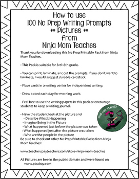100 Writing Prompt Cards PICTURE EDITION Printable Pack- No Prep