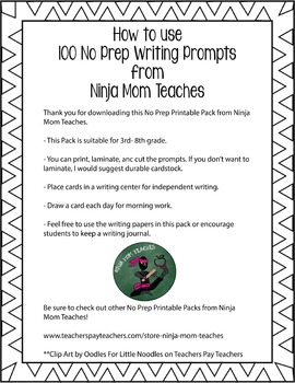 100 Writing Prompt Cards Printable Pack- No Prep