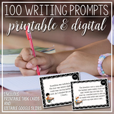 100 Writing Prompts: Printable & Digital Task Cards - Dist