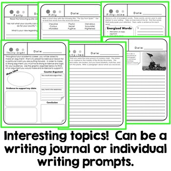 100 Writing Prompts - Point of view, Opinion Writing, Main Idea, and more!