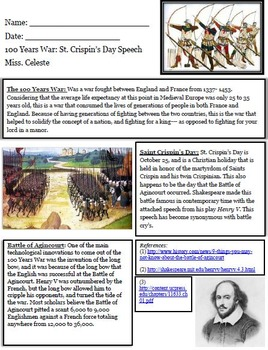Hundred Years War: St. Crispin's Day Speech