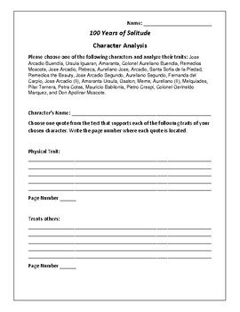 100 Years of Solitude Character Analysis Activity - Gabriel Garcia Marquez