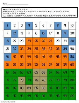 100 and 120 Chart Mystery Picture Color By Number