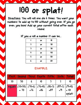 {Place Value Game} 100 and Splat!