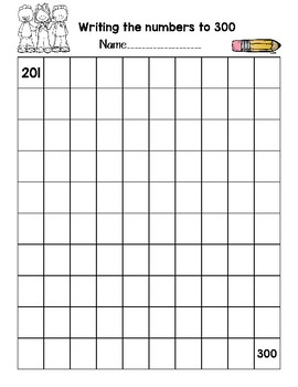Numbers 1-1000 blank & filled in grids -Great for Data Notebooks Great Math Tool