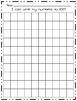 100 chart missing number and write the numbers to 100