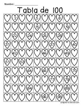 100 chart valentines English and Spanish