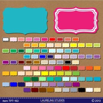 100 clip art labels in 50 colors