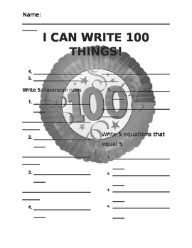 100 day I can write 100 things