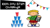 100th day STEM Challenge using 100 cups to make a design