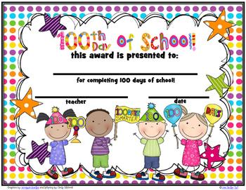 100 Day Award Certificates