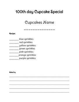 100 day cupcake writing/math sheet