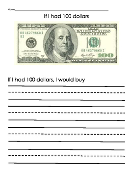 100 day of school 100 dollar writing