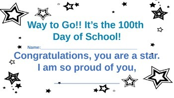 100 day of school certificate