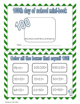 100 day of school mini-book