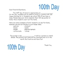 100 day posters- letter to parents