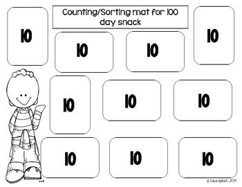 100 day snack count and sort mat