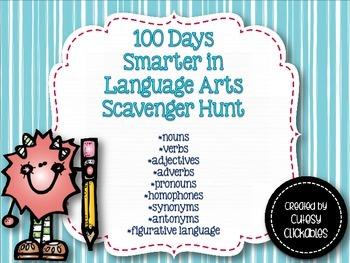 100 days Smarter in Language Arts {100th Day Scavenger Hunt for Big Kids}