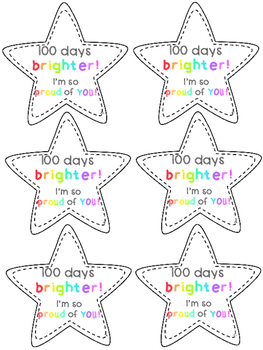 100 days brighter stars, certificate and poster for 100 days of learning
