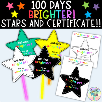 100 days brighter stars, certificate and poster for 100 da