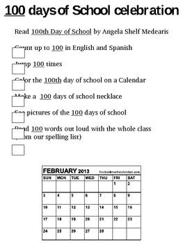 100 days of school 100 dias de escuela