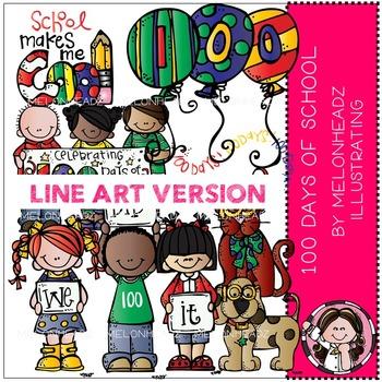 100 Days of School clip art - LINE ART- Melonheadz clipart