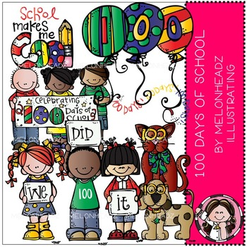 100 Days of School clip art - Melonheadz clipart