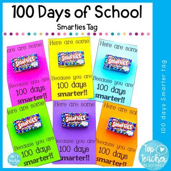 100 days of school smartie tag
