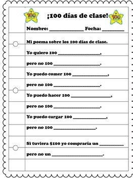 100 Days of school SPANISH 100 dias de escuela