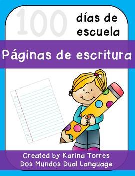 100 días de escuela-páginas de escritura