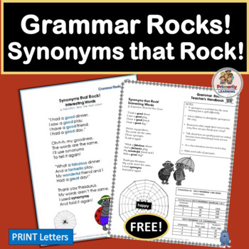 FREE! Grammar Rocks! Synonym Song with chart, lesson ideas, and mp3!